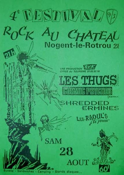 """28 aout 1993 Les Raoul's j'te pousse, Shredded Ermines, Cosmic Psychos, Les Thugs à Nogent le Rotrou """"Chateau Saint Jean"""""""