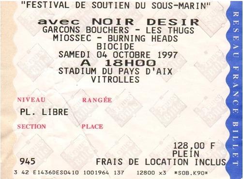 """4 octobre 1997 Biocide, Burning Heads, Miossec, les Thugs, Les Garçons Bouchers, Massilia Sound System, Noir Desir à Vitrolles """"Stadium du Pays D'aix"""""""