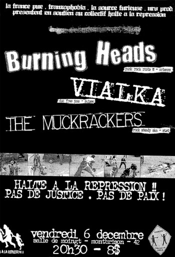 "6 decembre 2002 the Muckrackers, Vialka, Burning Heads à Montbrisson ""Salle Moingt"""