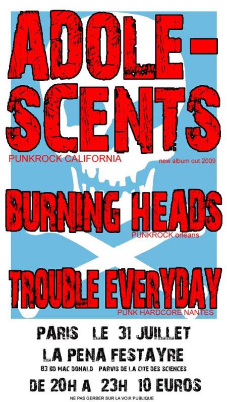 """31 Juillet 2009 Trouble Everyday, Burning Heads, Adolescents à Paris """"Pena Festayre"""""""