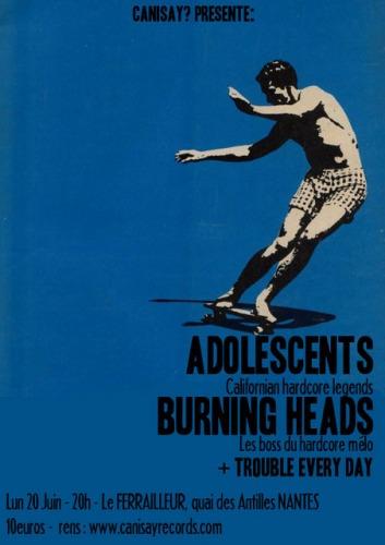 """20 juin 2011 Trouble Every Day, Burning Heads, Adolescents à Nantes """"Le Ferrailleur"""""""