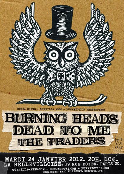 """24 janvier 2012 The Traders, Dead To Me, Burning Heads à Paris """"La Bellevilloise"""""""