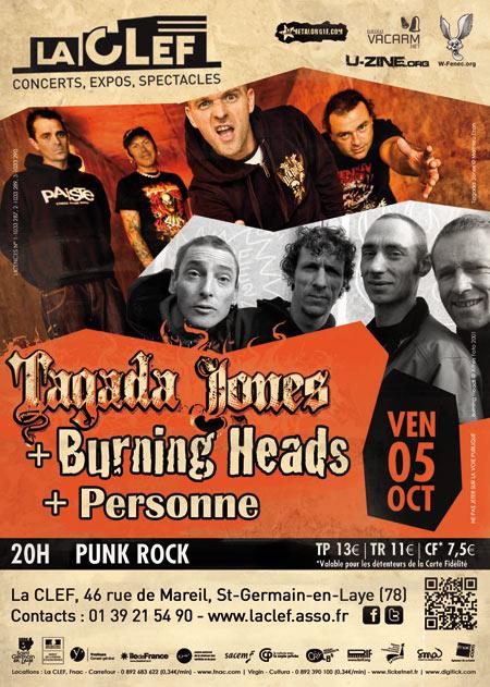 "5 octobre 2012 Personne, Burning Heads, Tagada Jones à Saint Germain en Laye ""La Clef"""