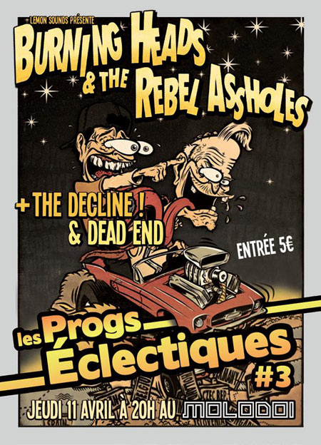 "11 avril 2013 Dead End, The Decline, The Rebel Assholes, Burning Heads à Strasbourg ""Molodoi"""