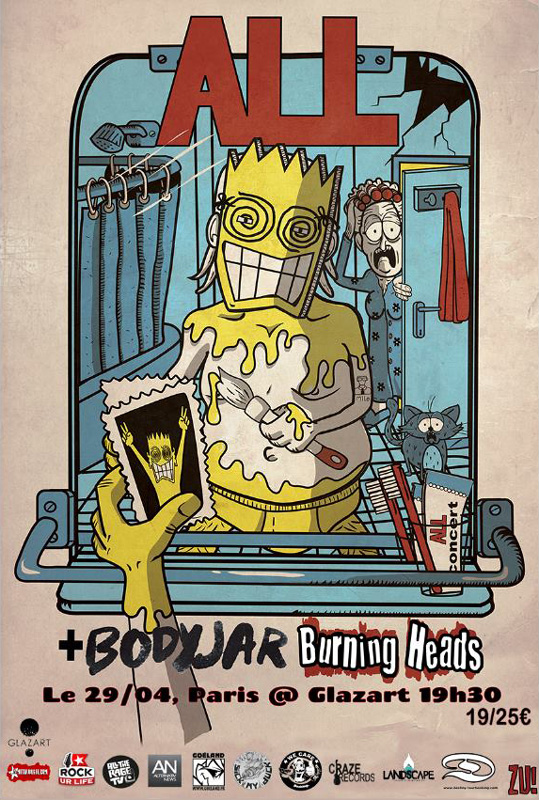 "29 avril 2014 Bodyjar, Burning Heads, All à Paris ""Glazart"""
