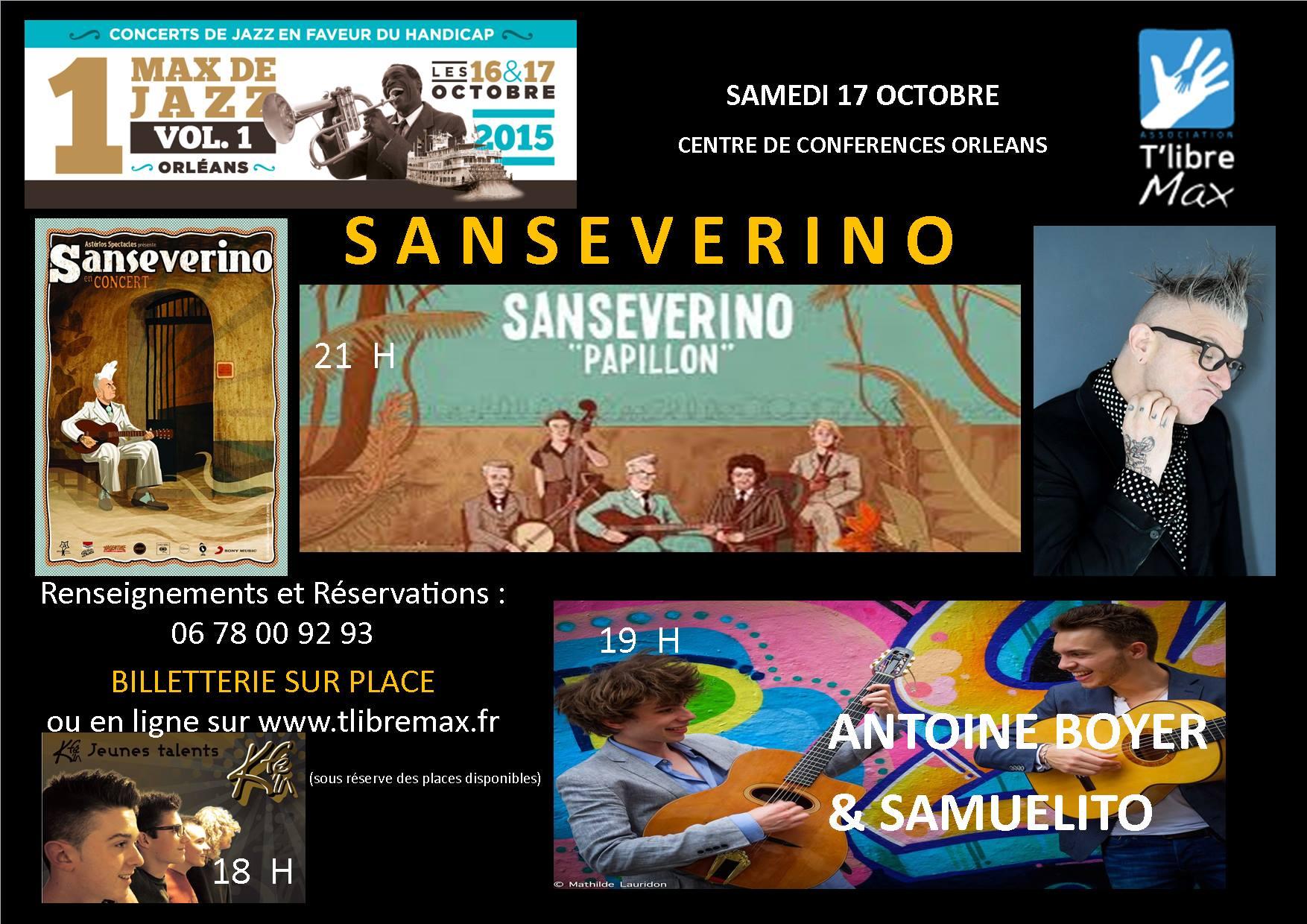"17 Octobre 2015 Kfe'in, Antoine Boyer & Samuelito, Sanseverino à Orléans ""Centre de Conférence"""