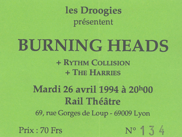 "26 avril 1994 The Harries, Rythm Collision, Burning Heads à Lyon ""Rail Théâtre"""