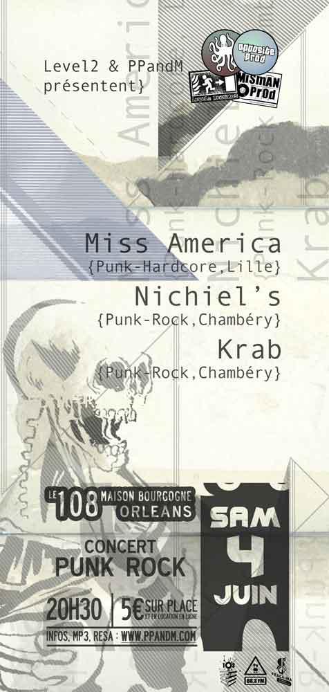 """4 juin 2011 Krab, Nichiel's, Miss America à Orléans """"le 108"""""""