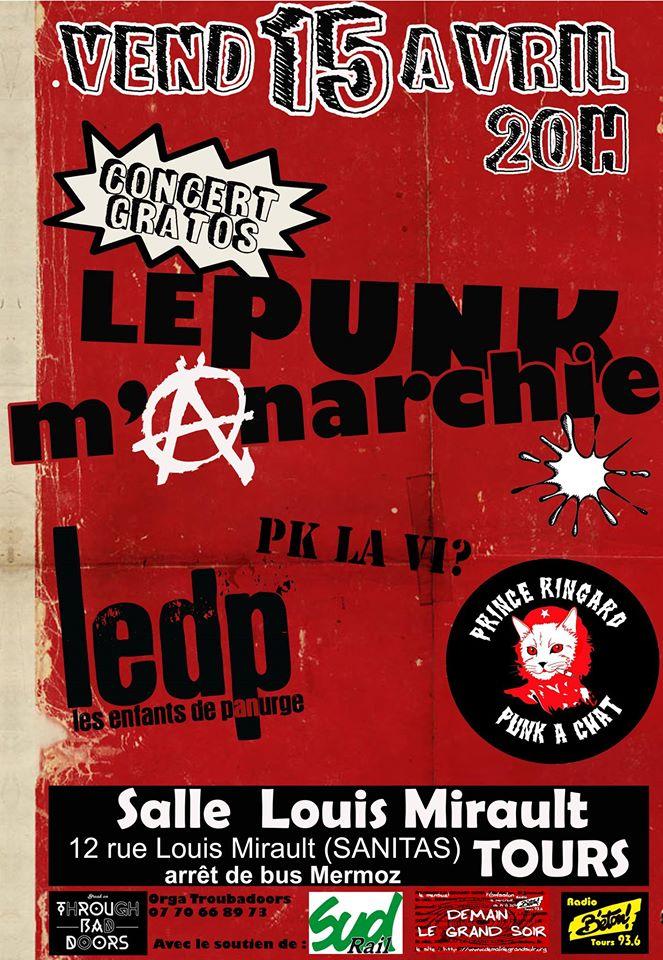 """15 avril 2016 Pk La Vi ?, Les Enfants de Panurge, Prince Ringard à Tours """"Salle Louis Mirault"""""""