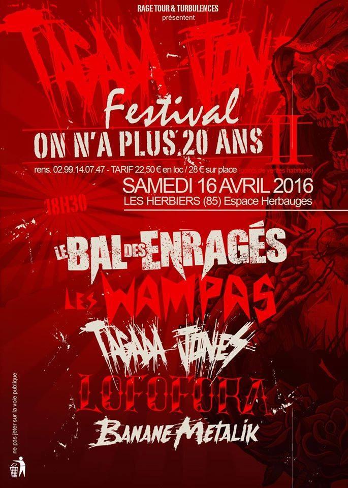 """16 avril 2016 Les Wampas, Tagada Jones, Le Bal des Enragés, Lofofora, Banane Metalik aux Herbiers """"Espace Herbauges"""""""