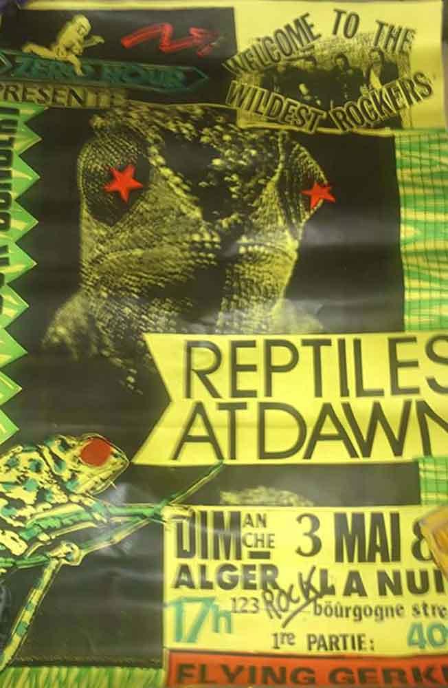 """3 mai 1987 Flying Gerkins, Reptiles At Dawn à Orléans """"Alger La Nuit"""""""