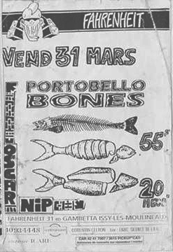 "31 mars 1995 Oscar Nip, Portobello Bones à Issy Les Moulineaux ""Le Farenheit"""