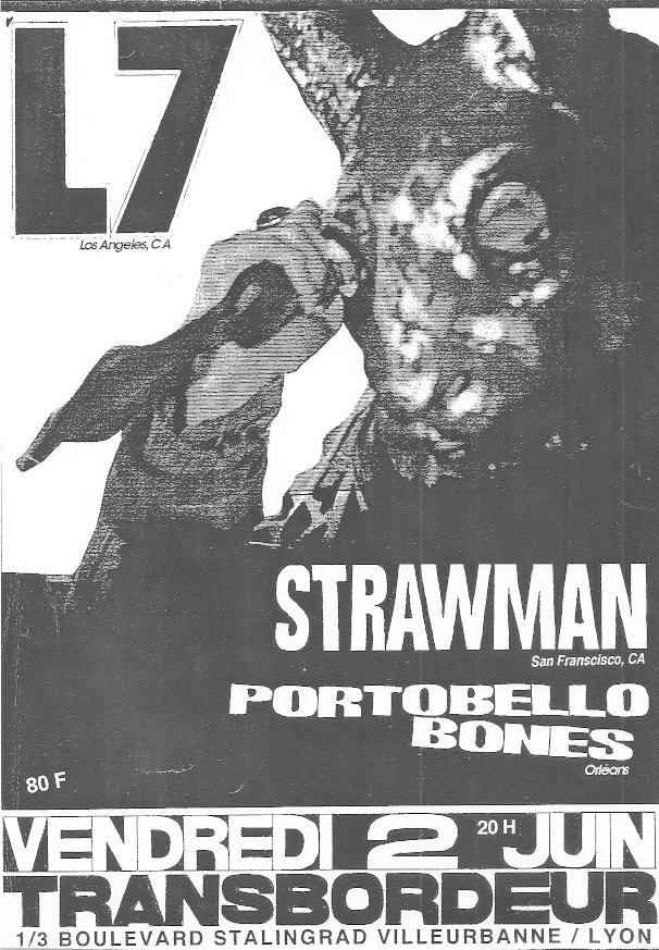 "2 juin 1995 Portobello Bones, Strawman, Wool, L7 à Villeurbanne ""le Transbordeur"""