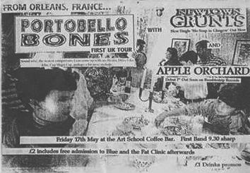 "17 mai 1996 Apple Orchard, Newtown Grunts, Portobello Bones à Dundee ""Art School Coffee Bar"""
