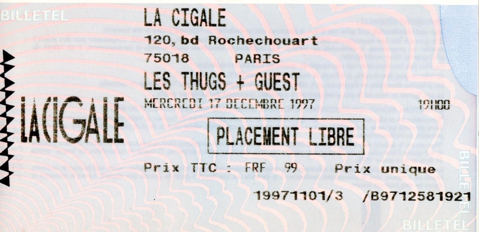 """17 décembre 1997 Diabologum, les Thugs à Paris """"La Cigale"""""""