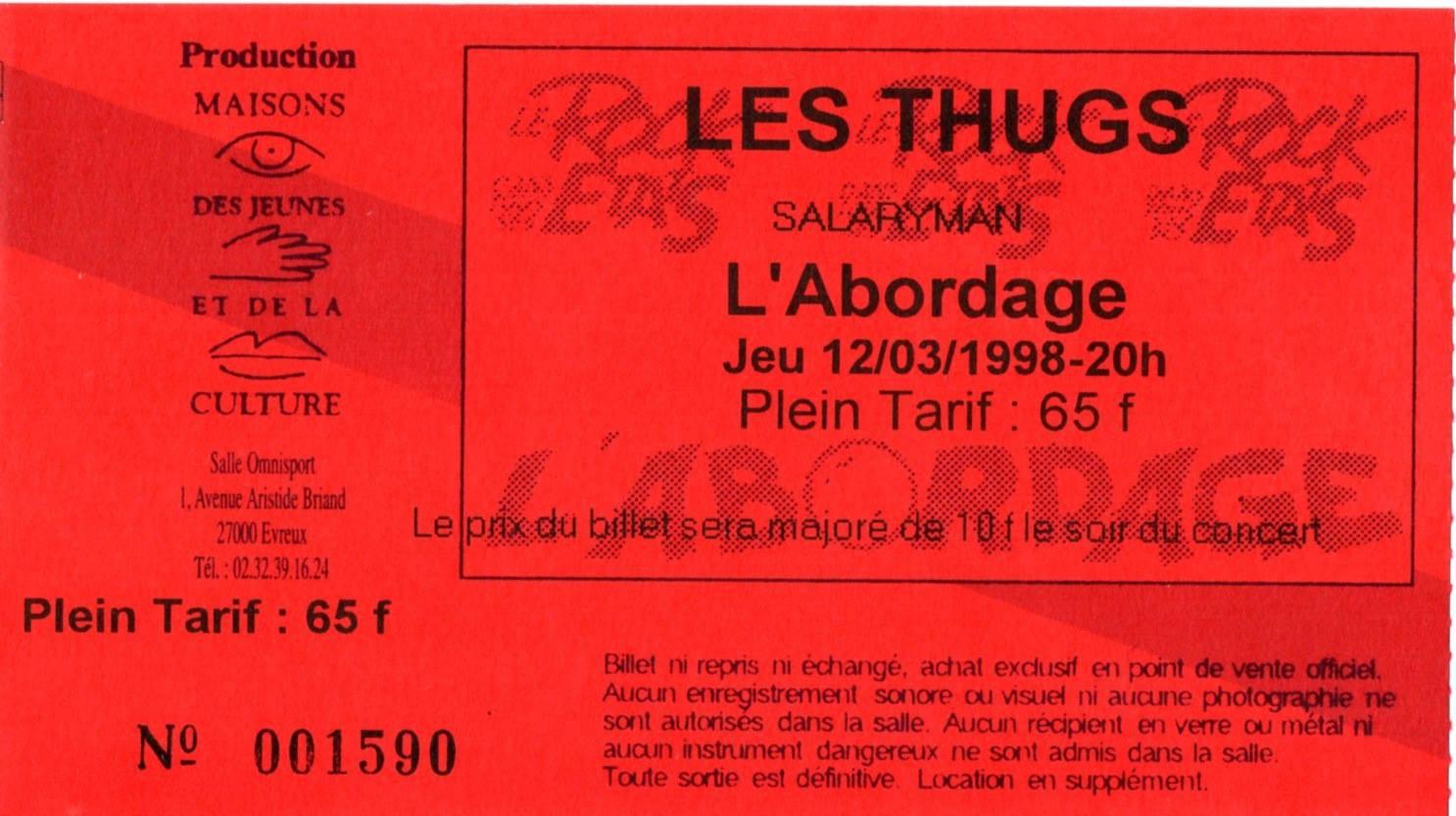 """12 mars 1998 Salaryman, les Thugs à Evreux """"L'Abordage"""""""