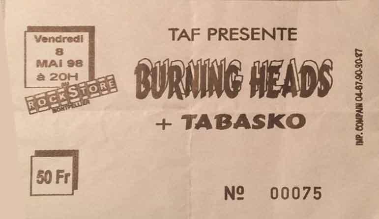 "8 mai 1998 Tabasko, Burning Heads à Montpellier ""Rockstore"""