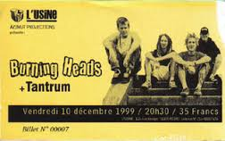 "10 decembre 1999 Tantrum, Burning Heads à Reims ""l'Usine"""