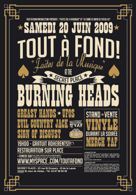 "20 juin 2009 Sign Of Disgust, Evil Country Jack, UFOS, Greasy Hands, Burning Heads à Saint Jean de Vedas ""Secret Place"""