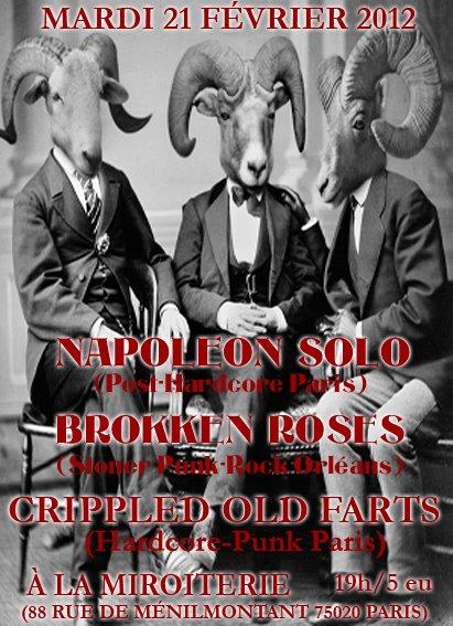 """21 fevrier 2012 Napoleon Solo, Brokken Roses, Crippled Old Farts à Paris """"La Miroiterie"""""""