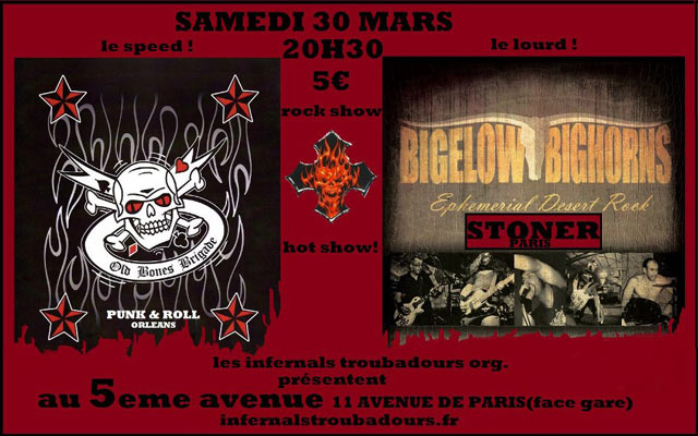 "30 mars 2013 Old Bones Brigade, Bigelow Bighorns à Orléans ""5ème Avenue"""