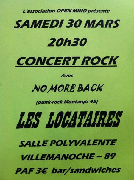 """30 mars 2013 No More Back, Les Locataires à Villemanoche """"Salle Polyvalente"""""""