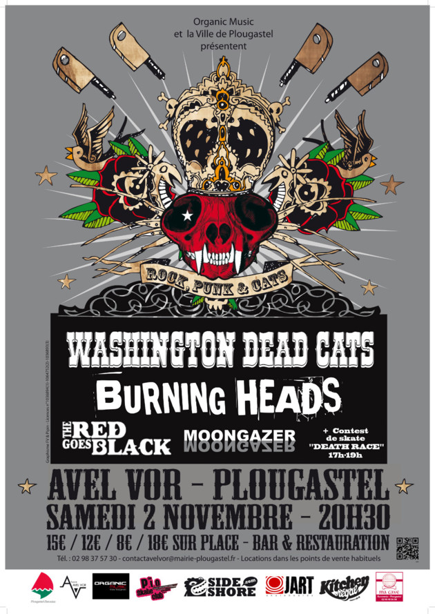 "2 novembre 2013 Moongazer, The Red Goes Black, Burning Heads, Washington Dead Cats à Plougastel ""Avel Vor"""
