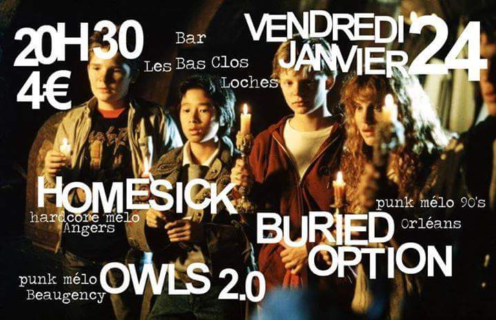 "24 janvier 2014 Owls 2.0, Buried Option, Homesick à Loches ""Bar Les Bas Clos"""