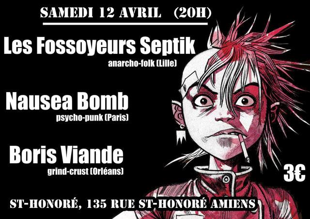 """12 avril 2014 Boris Viande, Nausea Bomb, Les Fossoyeurs Septik à Amiens """"Saint Honoré"""""""
