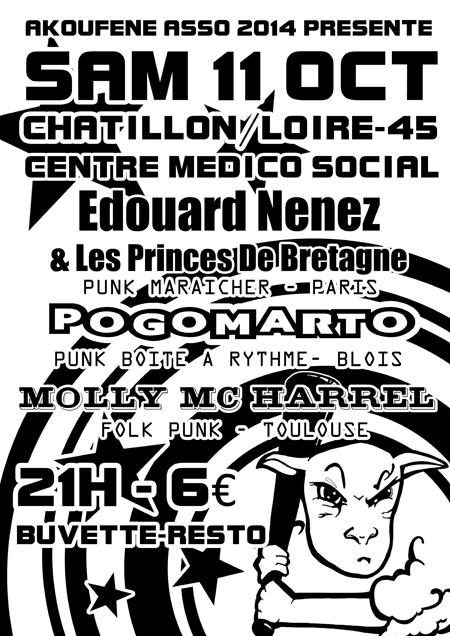 "11 octobre 2014 Molly Mc Harrel, Pogomarto, Edouard Nenez & les Princes de Bretagne à Chatillon sur Loire ""Centre Medico Social"""