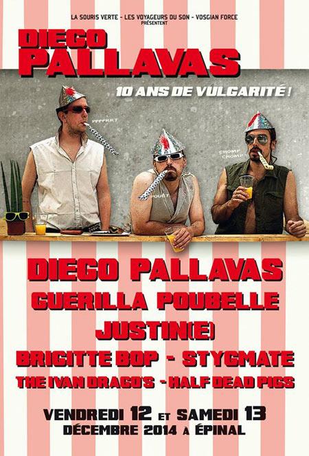 """12 décembre 2014 Half Dead Pigs, Brigitte Bop, Justin(e), Diego Pallavas à Epinal """"La Souris Verte"""""""