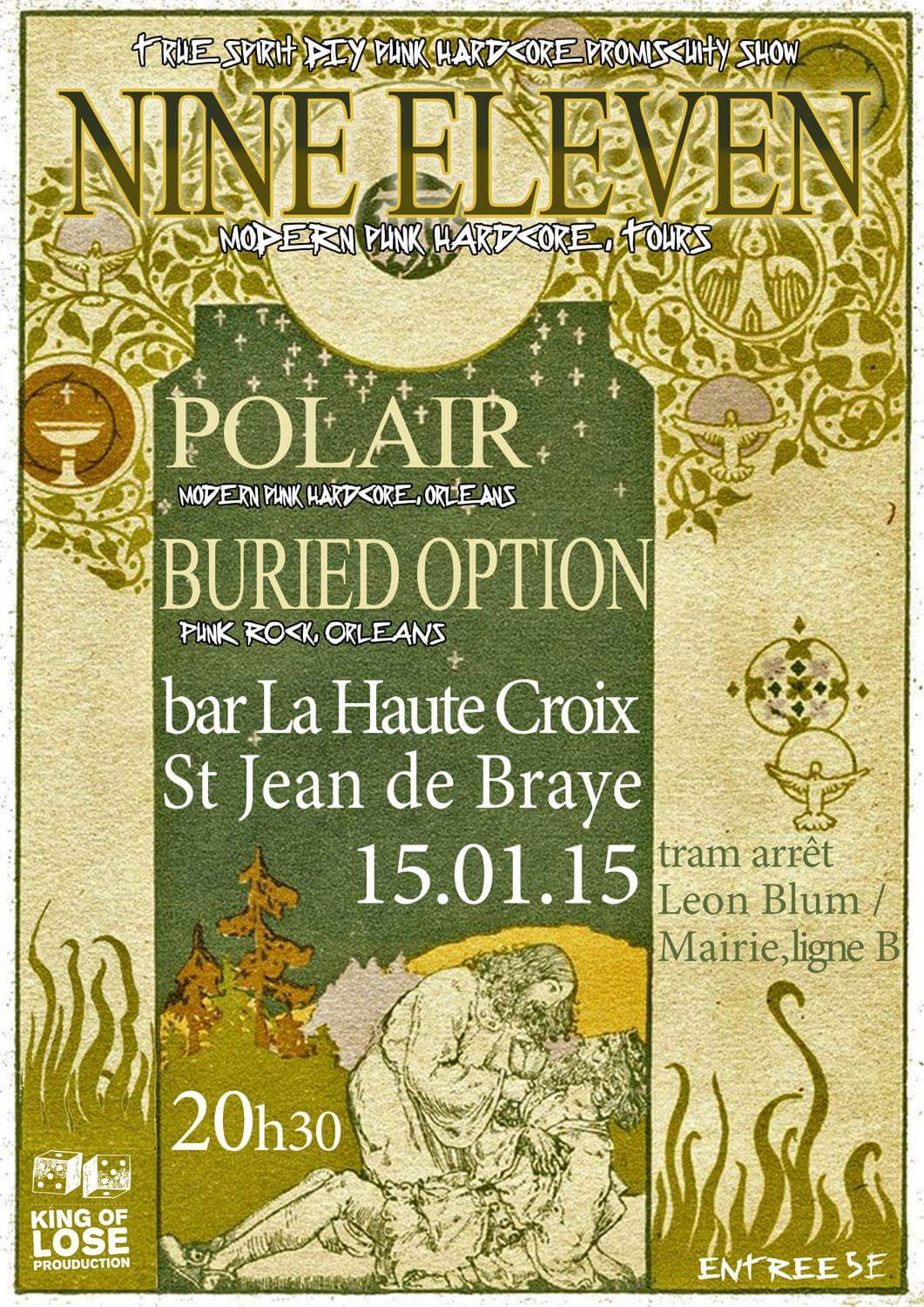 "15 janvier 2015 Buried Option, Polair, Nine Eleven à Saint Jean de Braye ""Bar de la Haute Croix"""