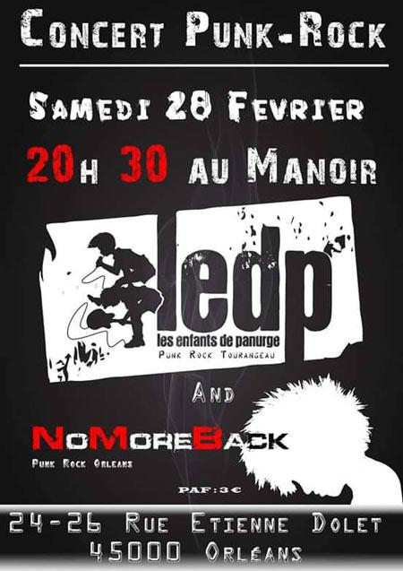 """28 fevrier 2015 No More Back, Les Enfants de Panurge à Orléans """"Le Manoir"""""""
