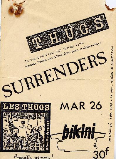 """26 fevrier 1985 Surrenders, les Thugs à Toulouse """"Le Bikini"""""""
