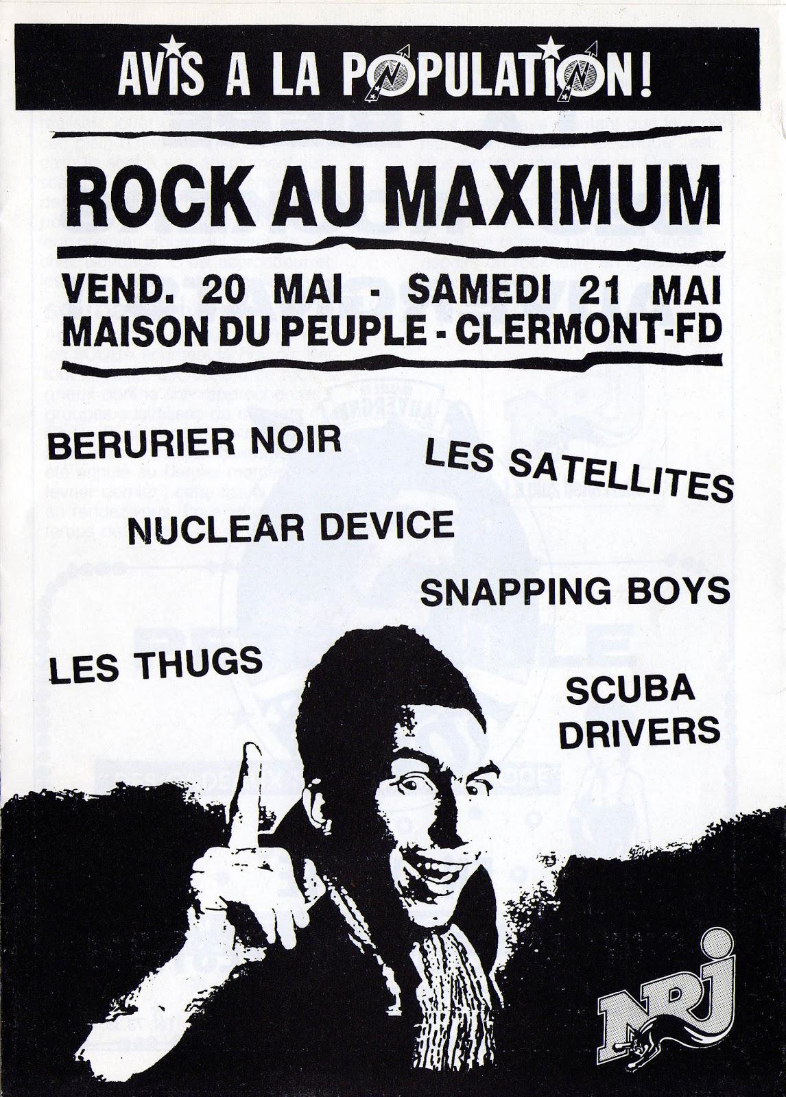 """20 mai 1988 Les Thugs, Nuclear Device, Berurier Noir à Clermont Ferrand """"Maison Du Peuple"""""""