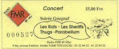"""12 novembre 1988 Les Rats, Les Sheriff, les Thugs, Parabellum à Toulouse """"FMR"""""""