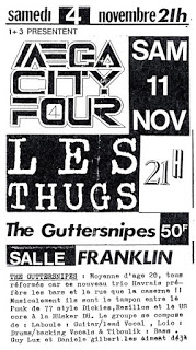 "11 novembre 1989 Guttersnipes, Les Thugs, Mega City Four au Havre ""Salle Franklin"""