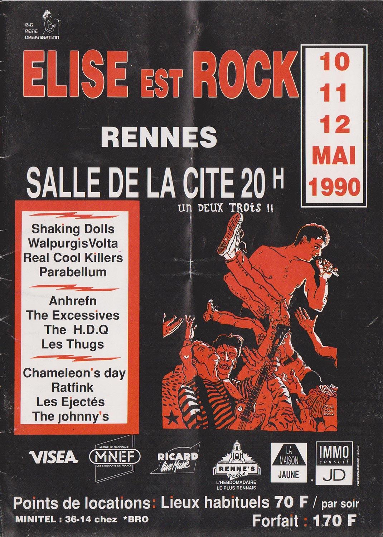 """10 mai 1990 Shaking Dolls, Walpurgis Volta, Real Cool Killers, Parabellum à Rennes """"Salle de la Cité"""""""