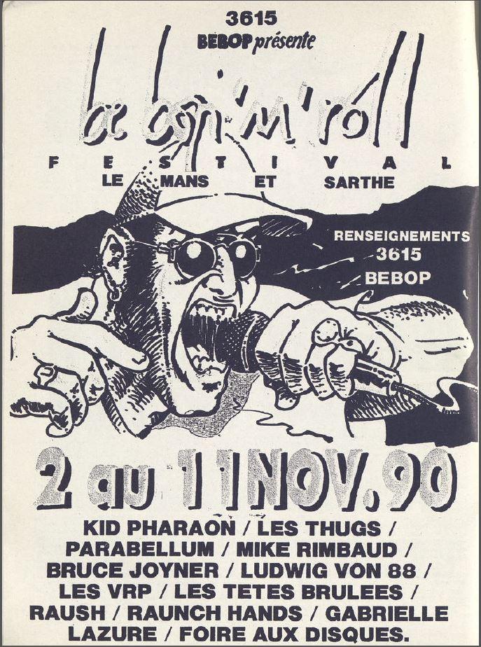 """8 novembre 1990 Chemical People, Les Thugs, Parabellum au Mans """"Salle le Royal"""""""