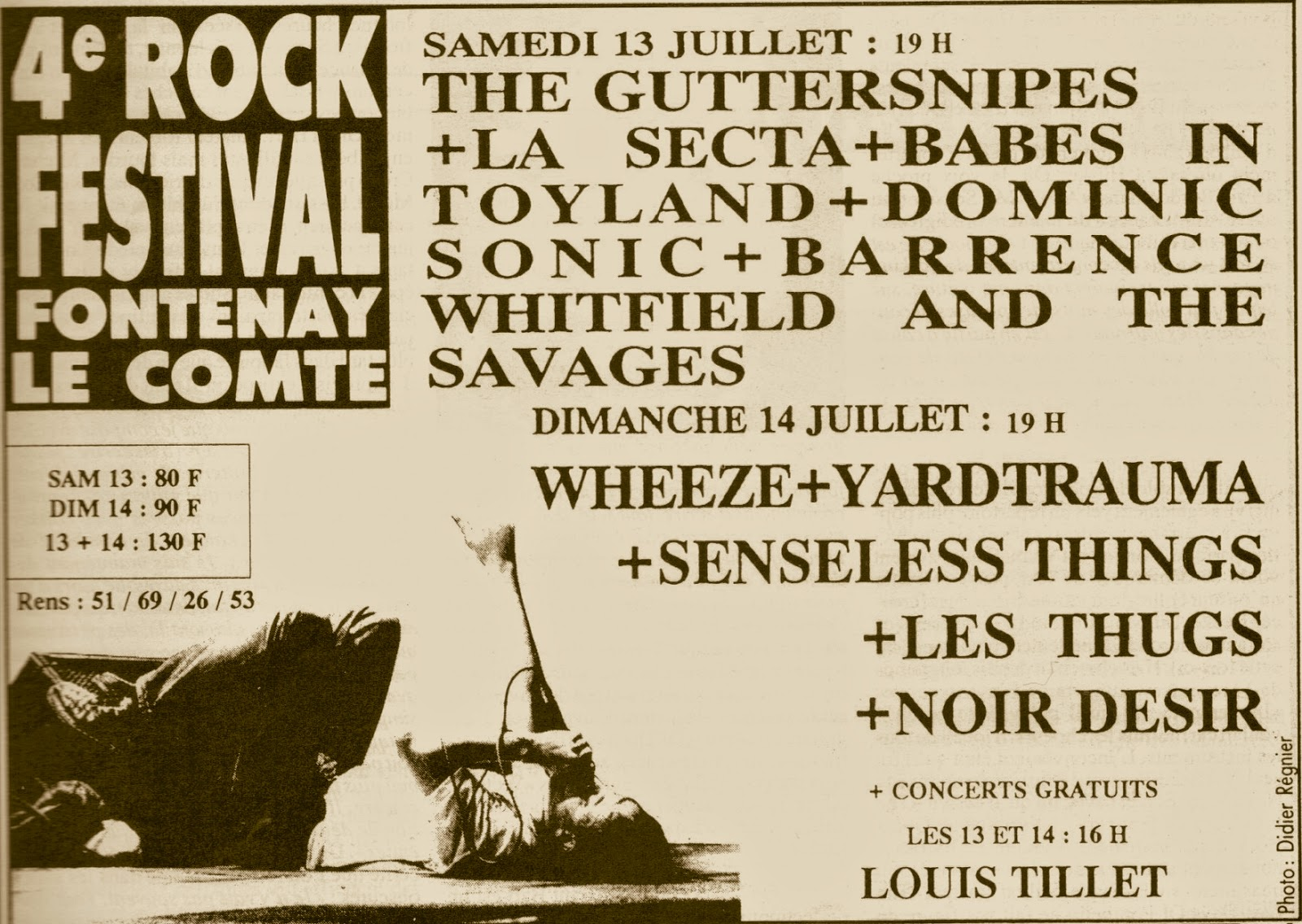 13 juillet 1991 The Guttersnipes, La Secta, Babes In Toyland, Dominic Sonic, Barrence Whitfield and the Savages à Fontenay le Comte