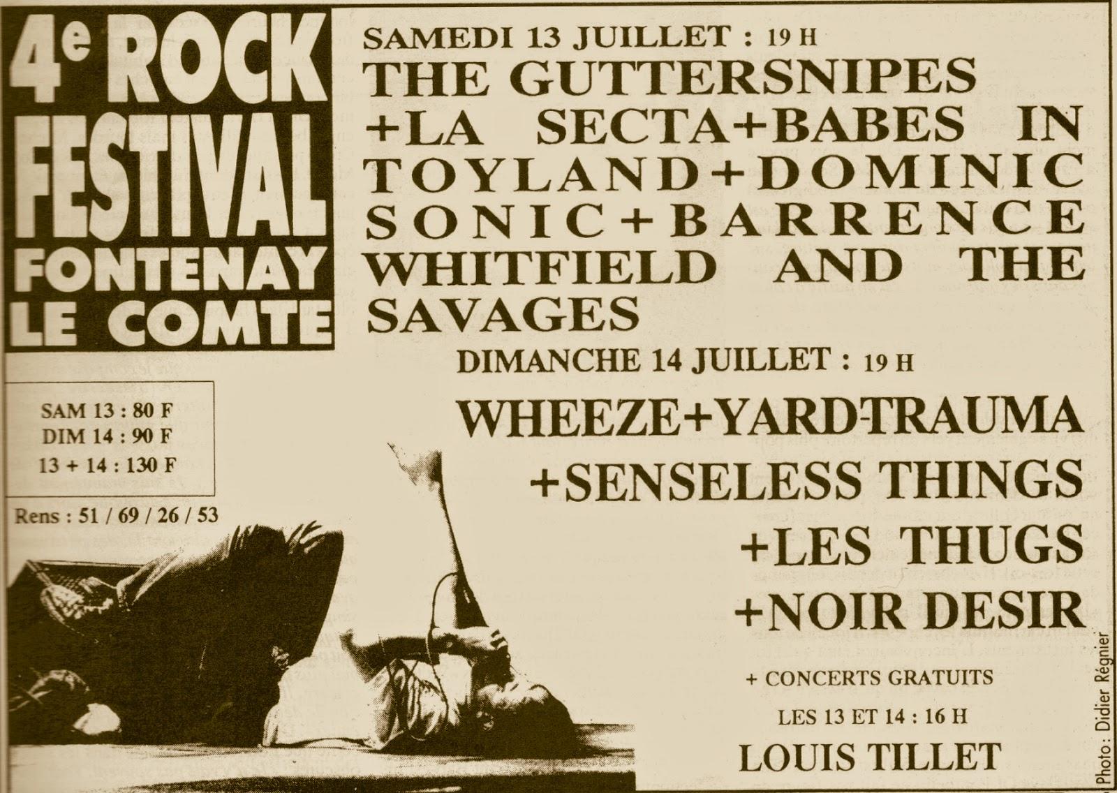 14 juillet 1991 Wheeze, Yard Trauma, Senseless Things, Les Thugs, Noir Desir à Fontenay le Comte