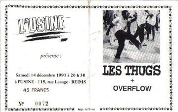 """14 décembre 1991 Overflow, les Thugs à Reims """"L'Usine"""""""