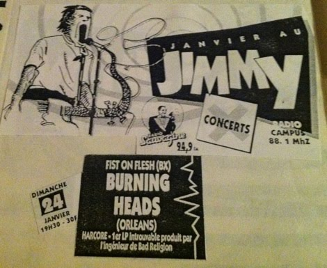 "24 janvier 1993 Fist On Flesh, Burning Heads à Bordeaux ""Le Jimmy"""