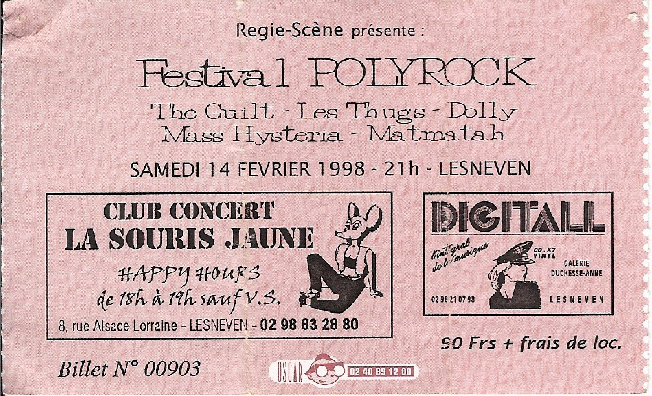 "14 fevrier 1998 The Guilt, Les Thugs, Dolly, Mass Hysteria, Matmatah à Lesneven ""Collège Saint François"""