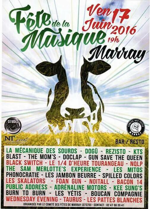 17 juin 2016 La Mécanique des Sourds, Dogu, Rezisto, KTS, Blast, The Mom's, Doclap, Gun Save The Queen, Black Switch, Le 1/4 d'heure tourangeau, NQLP, The Sam Merlotte's Experience, Les Mitos, Phonocratie, Les Jambon Beurre, Spilled Colors, Les Skalators, Foan Gun, Noïtall, Baccon 14, Public Address, Adrenaline Motors, Kee sung's, Burn To Burn, Yeti, Boucan Compagnie, Wednesday Evening, Taurus, Les Pattes Blanches à Marray