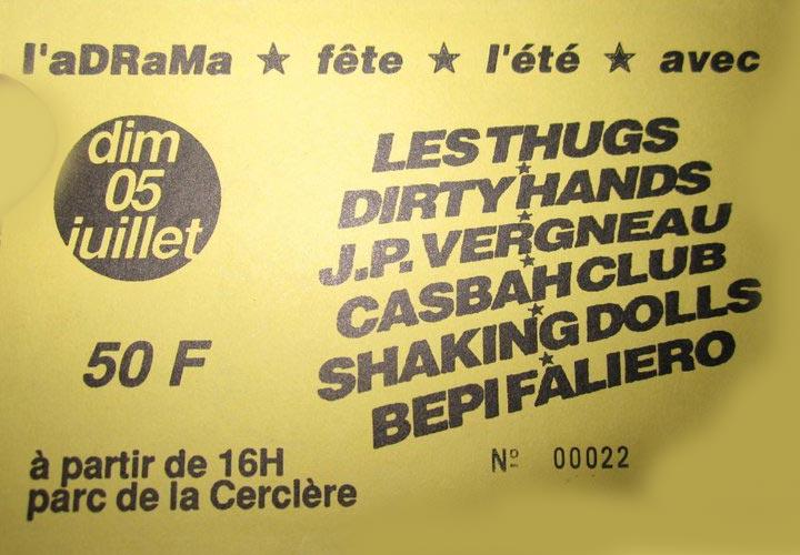 """5 juillet 1992 Bepi Faliero, Shaking Dolls, Casbah Club, Jean Phi Vergneau, Dirty Hands, Les Thugs à Angers """"Parc de la Cerclère"""""""