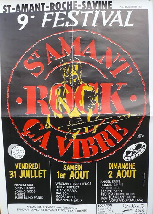 31 juillet 1992 Pozum God, Dirty Hands, Young Gods, Les Thugs, Pure Blind Panic à Saint Amand Roche Savine