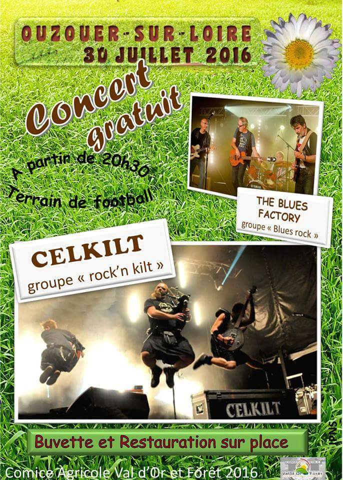 "30 juillet 2016 The Blues Factory, Celkilt à Ouzouer Sur Loire ""Stade de Football"""