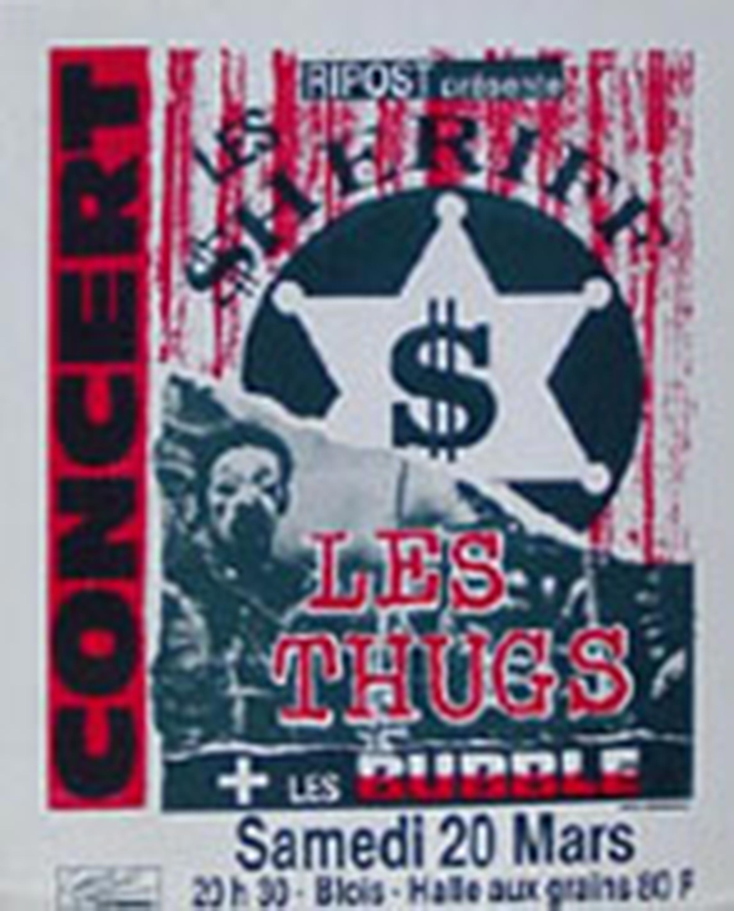 """20 mars 1993 Bubble, Les Thugs, Les Sheriff à Blois """"Halle Aux Grains"""""""