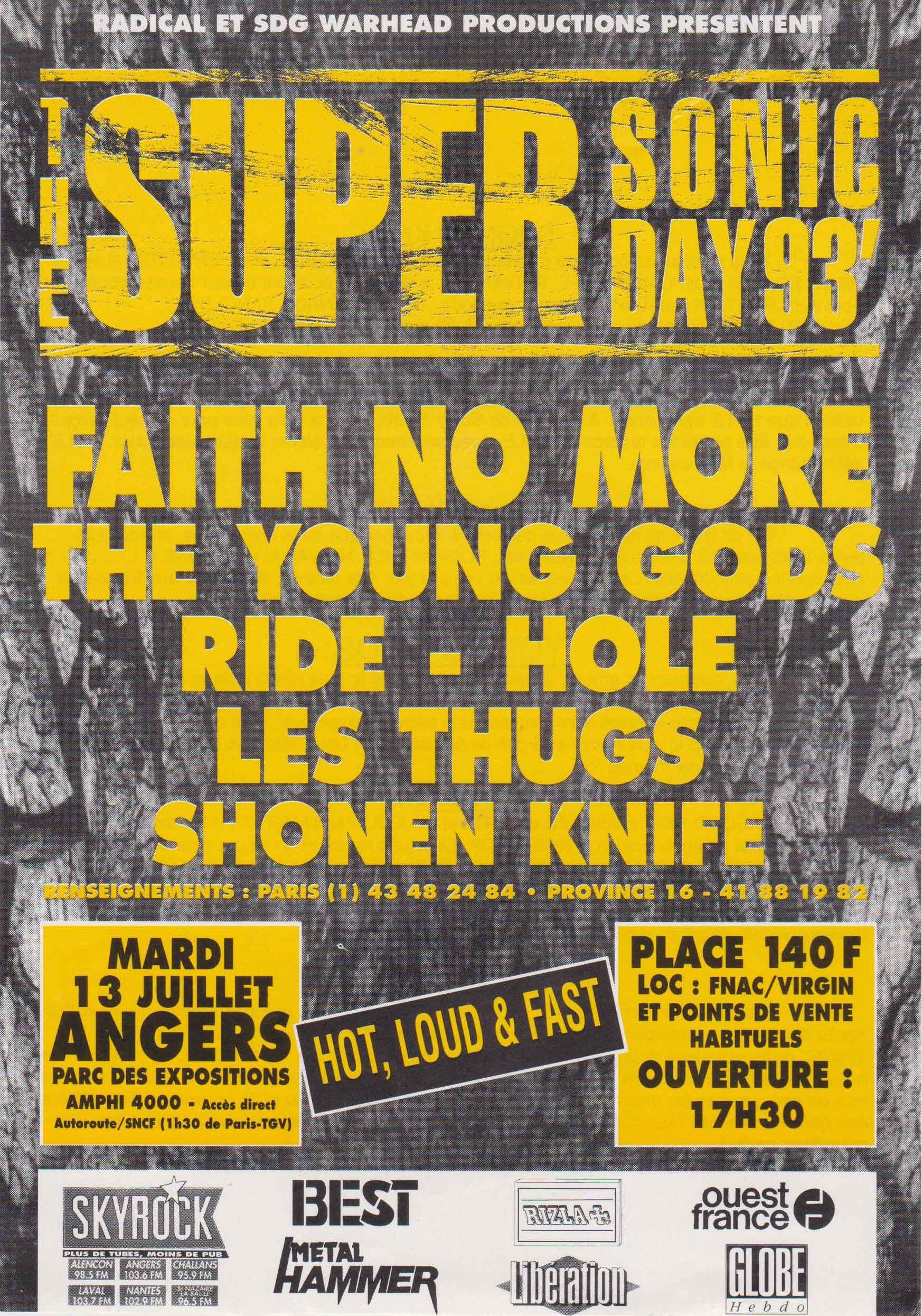 """13 juillet 1993 Shonen Knife, Les Thugs, Hole, Ride, The Young Gods, Faith No More à Angers """"Parc des Expositions"""""""